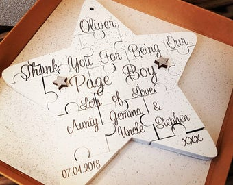 Personalised Star Jigsaw Gift, Page Boy, Flowergirl, Wedding Thank you Gift, Christmas Wedding, Personalised Christmas Gift