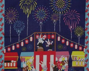 Furoshiki Cloth 'Summer Festival Taiko Dance Rabbits' Cotton Japanese Fabric w/Free Insured Shipping
