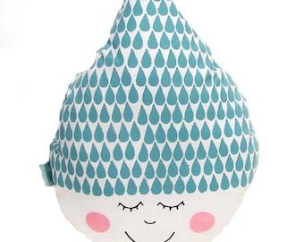 Decorative pillow raindrop happy face,decorative pillows,gift for her,home decor, nursery decor,kids room decor,toddler pillow