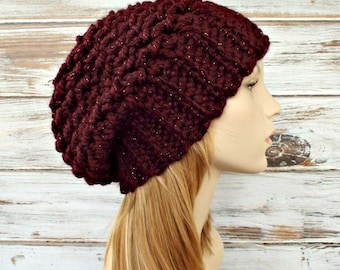 Womens Hat Slouchy Beanie Slouchy Hat - Souffle Beret in Cabernet Red Crochet Hat - Red Hat Red Beanie Womens Accessories
