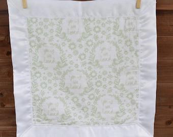 Satin Trimmed Lovie Blanket, security blanket, lovey,muslin/gender neutral/gift/baby shower