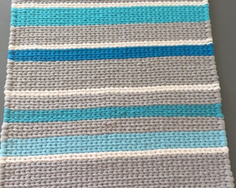 Twined Rug- Blue, Gray, and White