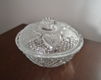 LIDDED CANDY DISH Hearts Roses and Fleur De Lis Trinket Box Candy Dish