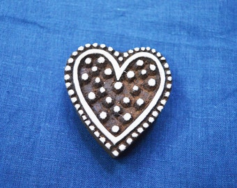 Heart Shape Wooden Stamp - Hand Carved Indian Wood Block Textile Stamps - Fabric Stamp - Textile Printing Block, Stamp Blocks