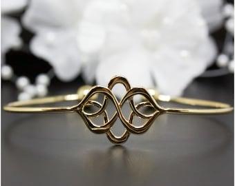 Celtic Knot Gold Cuff Bangle, Gold-Tone Cuff Bangle, Thank You Gift, Birthday Gift, Graduations Gift | #G005