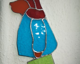 Stained glass Paddington Bear