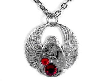 Steampunk Jewelry Necklace Vintage Watch Steam Punk SCARAB Siam RED Crystals Wedding Anniversary Holiday Gift Women Men - Steampunk Boutique