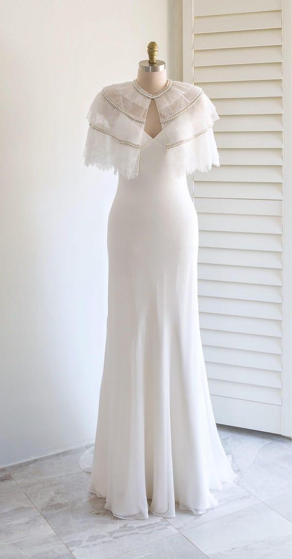 Lace bridal cape Off white vintage wedding cape Bride cover up