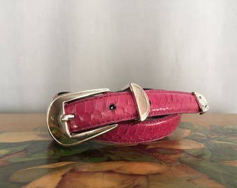 Pink Snake Skin Belt Vintage Distressed Silver Buckle size Small