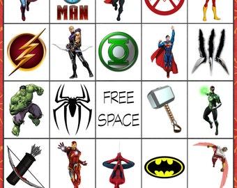 Super Hero Bingo 10 card