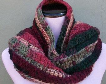 Variegated Bulky Scarf, Heavy Handmade Scarf, Crochet Neck Warmer, Handmade Accessory, Cold Weather Scarf, Thick Scarf, Bulky Crochet Scarf