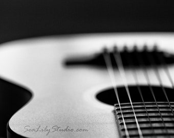 Acoustic Guitar : abstract photo black white macro photography monochrome surreal home decor musical instrument 8x12 12x18 16x24 20x30 24x36