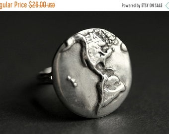 MOTHERS DAY SALE Earth Ring. World Ring. Pewter Button Ring. Planet Earth Ring. Adjustable Ring. Silver RIng. Handmade Ring. Pewter Ring. Ha