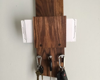 Modern Handmade Walnut  Wood Home  Entryway Mail Organizer and Key Hook