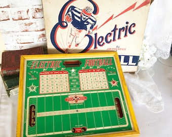 Vintage Electric Football Board Game Mid Century Toy Sports Wood Frame Hanging Wall
