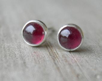 Tiny Rhodolite Garnet Sterling Post Earrings January Birthstone