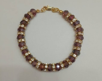 Purple AB Coated Glass Bead and Rhinestone Bracelet