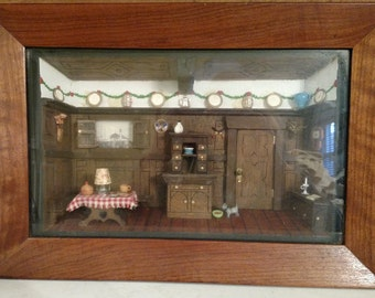 Vintage Handmade American Folk Art Shadow Box, Diorama