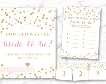 How old was the bride-to-be sign and game card, glitter confetti sign, pink and gold sign, guess the bride age, 008