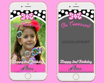 MINNIE MOUSE GEOFILTER  Plus Family & Friends Message   Custom Personalized Snapchat Geofilter   Girl  Birthday Party   Minnie Mouse Party
