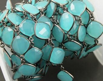 Aqua Chalcedony Bezel Chain Component, Oxidized Sterling Silver,Sold as Foot,14x16  mm, (GMCOX-AQUA/01)