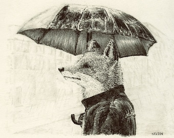 Fox in the City Print of Original Drawing
