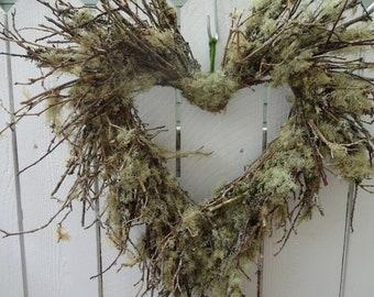 Lichen Wreath  Heart Wreath  Rustic Wedding  Wreath  Natural Wreath  Valentine Wreath  Anniversary Wreath  Home Decor  Door Wreath