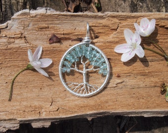 Aquamarine Tree of Life Pendant Sterling Silver