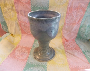 Light Blue Satin Stoneware Goblet