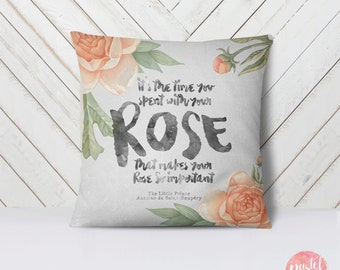 Floral Rose Quote The Little Prince - Throw Pillow Case, Pillow Cover, Home Decor - TPC1148