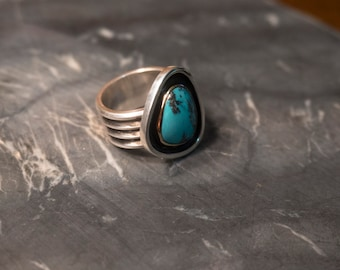 Industrial Turquoise Ring | Handmade Silver and Gold Ring | Turquoise Statement Ring | Wide Band Ring | Oxidized .999\.925 Silver & 14k gold