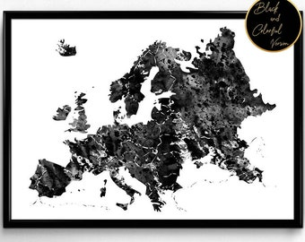 Map of Europe, Nature,gift,home decor, Watercolor  print, wall art,poster,wall decor  (100)