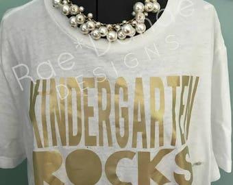 Teacher Tee Kindergarten Rocks...First Grade Second Third...Cross...Christian DIY Iron On Decal
