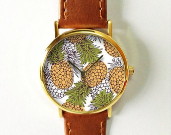 Pineapple Watch, Tropical Pineapple Print Watch, Pineapple Accessories Jewelry, Women's Watch, Men's Watch, Unisex Watch, Tropical Wedding