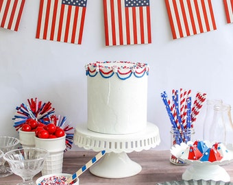 Ready To Ship Patriotic Cake- Fake cake, prop cake, party decor