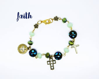 Sale--Christian Bracelet--One of a Kind--Trending--Contemporary Inspirational Jewelry--Cross--Faith--Hope--Boho--Bohemian--Hippie--Handmade