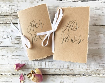 Vow Booklet, Kraft Wedding Vow Book, His and Her Vow Books, Wedding Vows Book, Customized Books, Vow Renewal, Her and Her, His and His