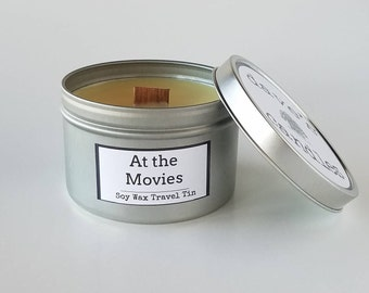 At the Movies. Soy Travel Tin with Wood Wick