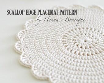 Crochet Placemat Pattern - Scallop Edge Placemats - PDF