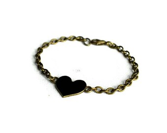 Black Heart Bracelet, Black Heart Jewelry, Fiver Friday, Love Heart Bracelet, Chain Bracelet, Gothic Jewellery, Gifts for Friends