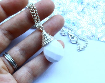 White and Silver Necklace Minimalist Simple Affordable Pendant For Her