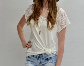 SALE Hi-lo Boxy Top in Ivory