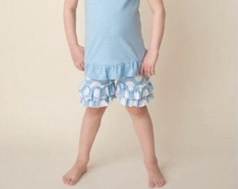 Girls pokadot blue ruffle shorts