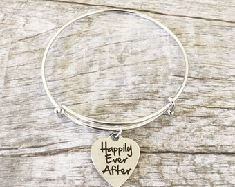 Happily Ever After Heart Shaped Charm Bangle Bracelet