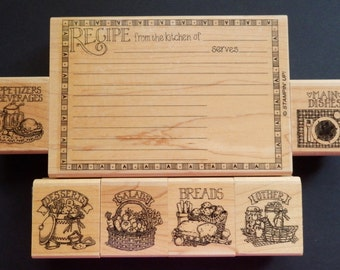 Stampin Up!  Recipe Card Maker - Recipe Fun - Stamp Set - WM (Set of 7)