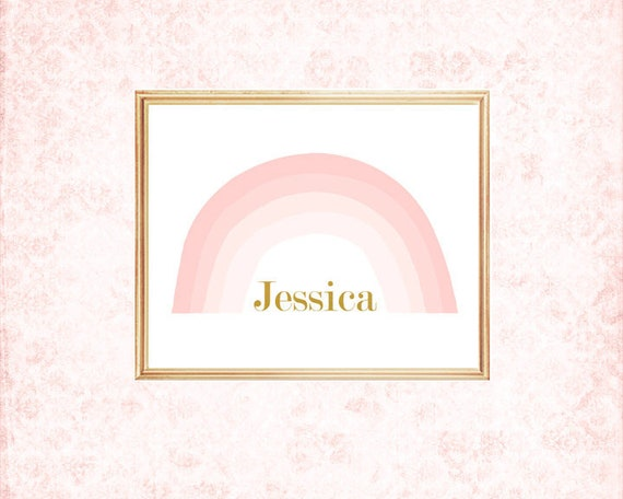 Rainbow Nursery Decor, 8x10 Personalized Print with Name, 4 Colors