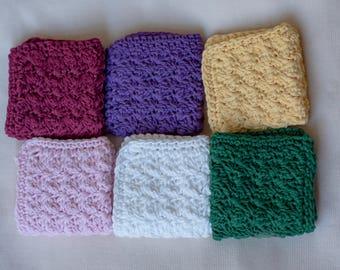 Crochet Dishcloths, Crochet Washcloths, Pick Three, Baby Shower Gift, Housewarming Gift, Dishcloths, Washcloths, Facial Cloth