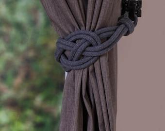 Dark grey Cotton Rope Carrick Bend Knot Curtain Tie-backs Large Knot Nautical Style Shabby Chic Rope Curtain Gray Tiebacks Hold-backs Slate