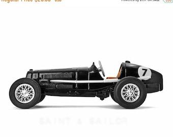 FLASH SALE til MIDNIGHT Black No.7 Vintage Race Car on White Background, One Photo Print, Boys Room decor, Vintage Car Prints