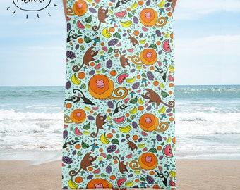 Monkey Towel Cute Monkeys Beach Towel Tropical Towels Tropical Beach Towel Rainforest Towel